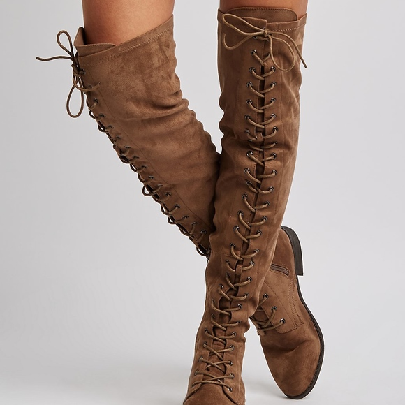 a484cba8c1eb33 Faux Suede Lace Up Over-The-Knee Combat Boots
